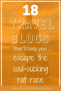 graphic with text - 18 travel blogs that'll help you escape the rat race