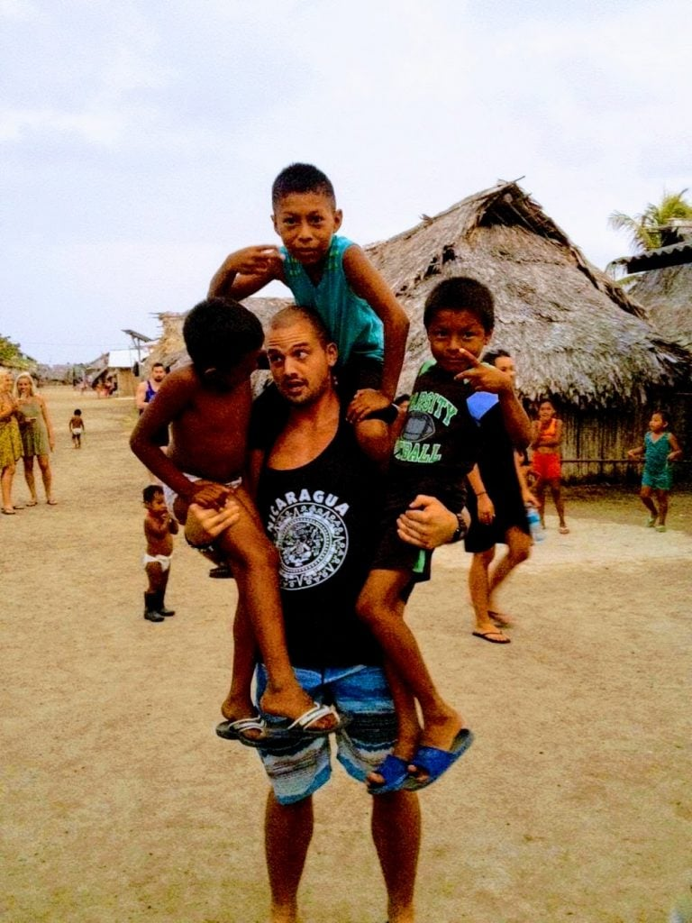 Playing with Kuna indian kids on San Blas Islands