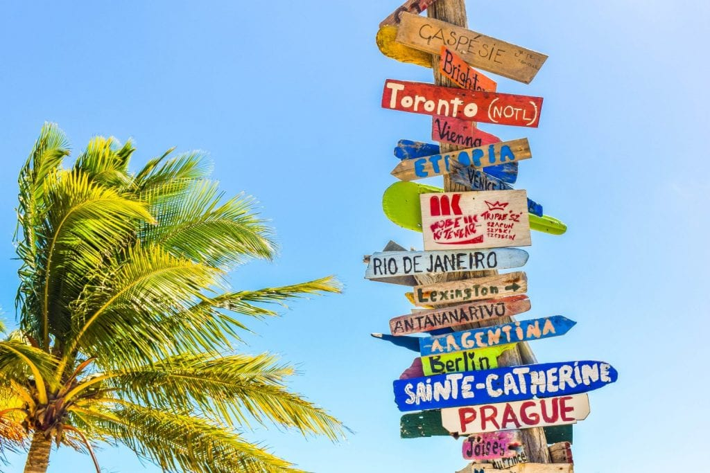 signpost with world destinations