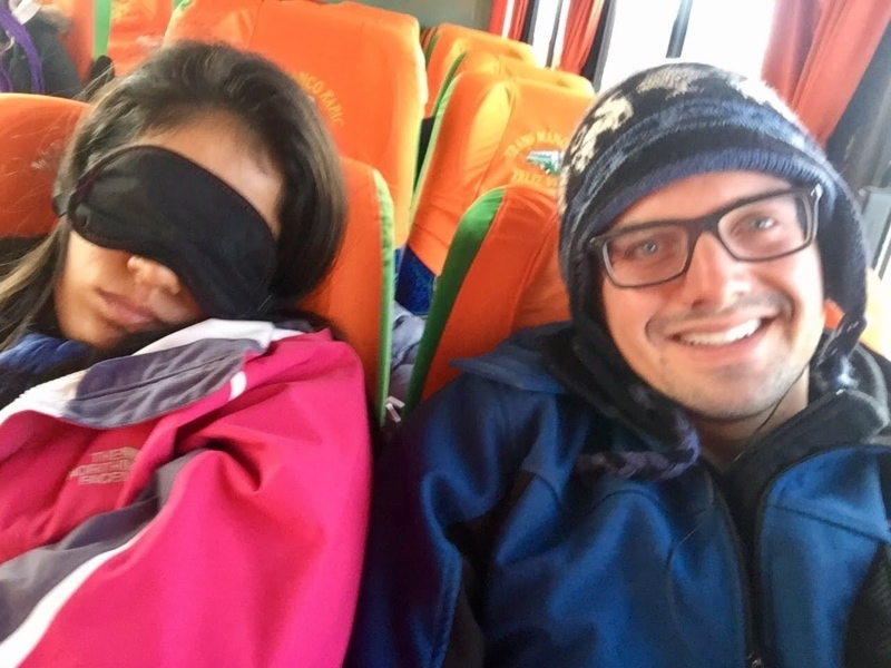 Bundled up, getting ready to sleep in a night bus