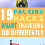 traveler picture with text overlay 19 packing hacks smart travelers do differently