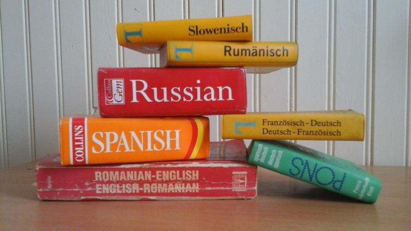 Stack of language books