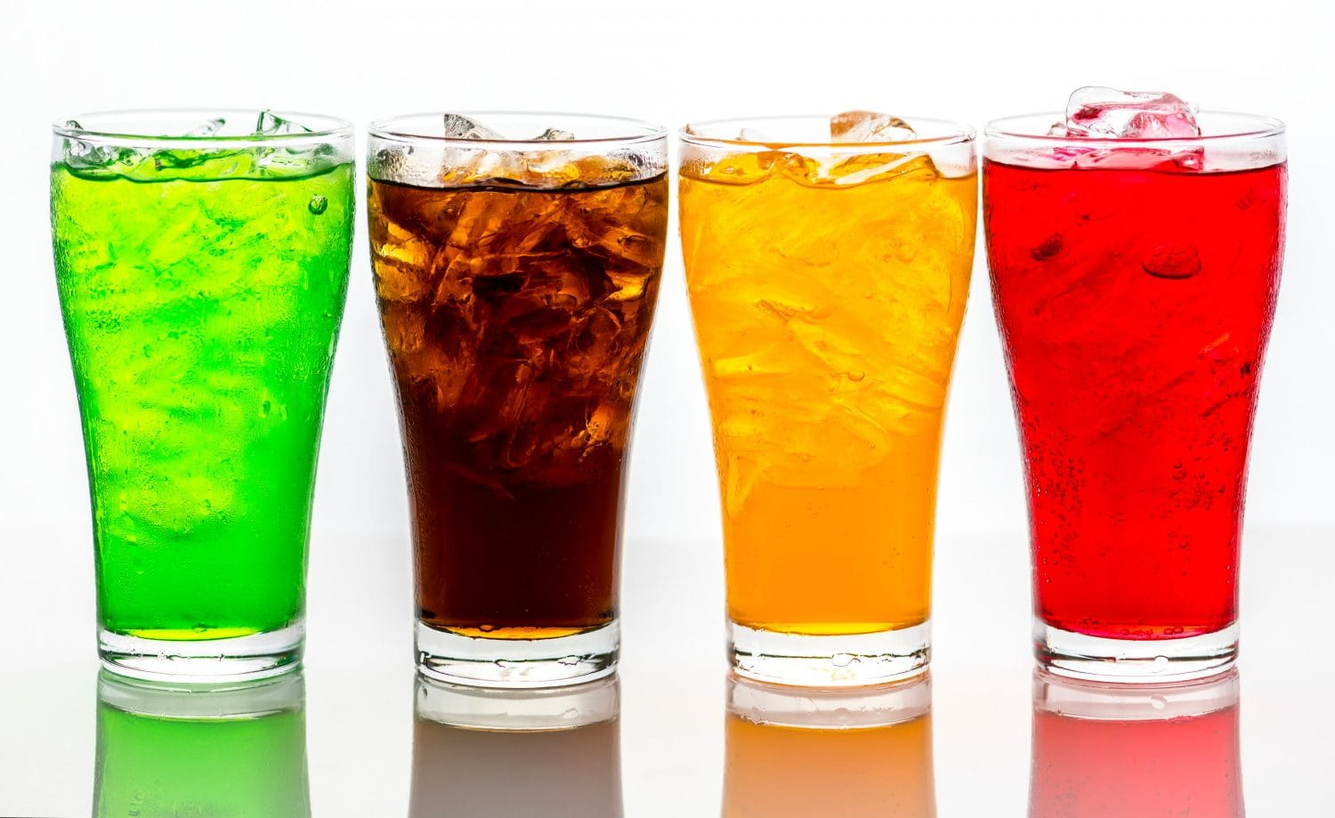 Four cold colored beverages