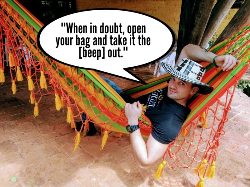 """Me in hammock saying """"When in doubt, open your bag and take it the [beep] out."""""""