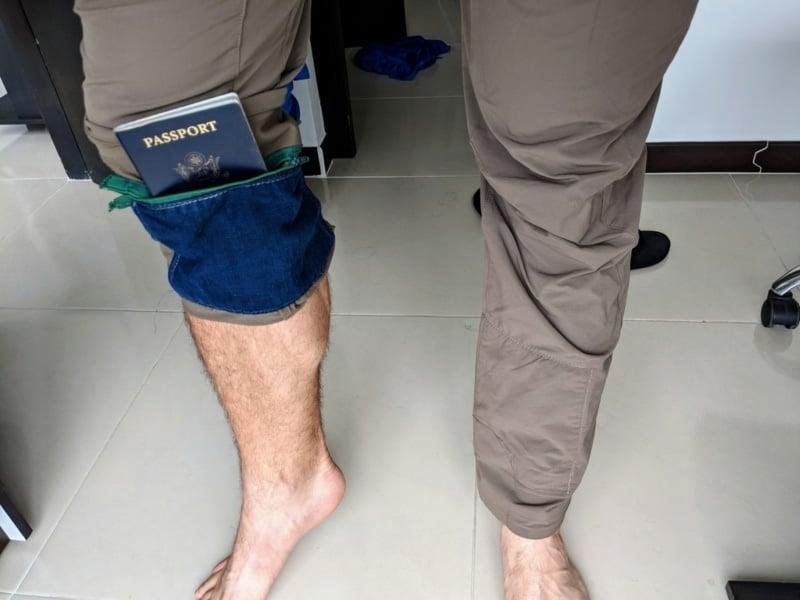 Secret pants pocket for hiding valuables while traveling