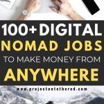 picture of laptop and traveler with text overlay 100+ digital nomad jobs to make money from anywhere