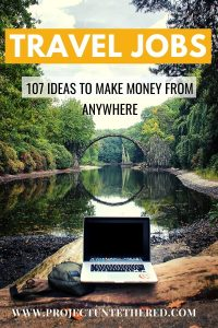 travel jobs to make money anywhere - pic of laptop by a river