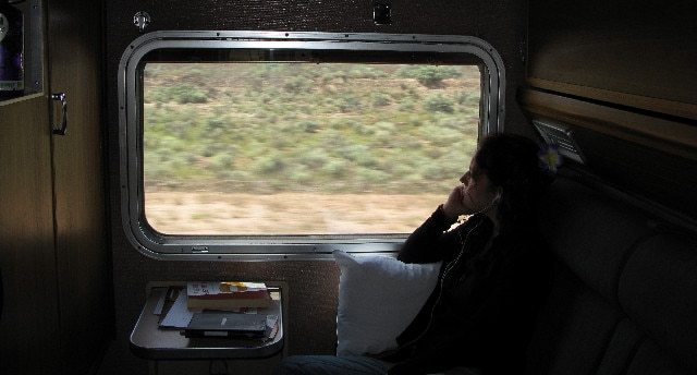 Nora Dunn traveling in a train