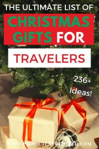 The Ultimate List of Christmas Gifts for Travelers - Pinterest image text with presents background