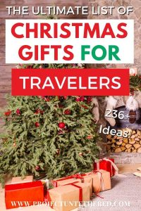 The Ultimate List of Christmas Gifts for Travelers - Pinterest image text with tree background