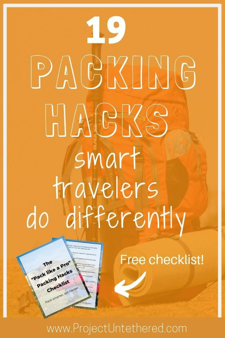 graphic with text - 19 packing hacks smart travelers do differently