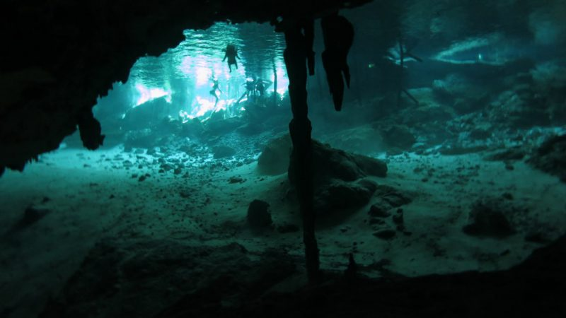 Diving through Cenote caves near Cancun