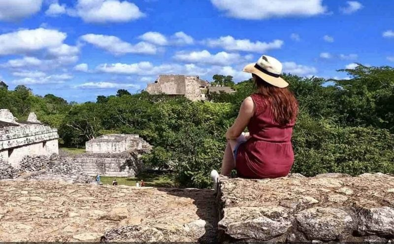 Girl looking over Ek Balam ruins