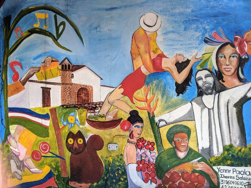 Wall painting of famous icons representing Cali Colombia