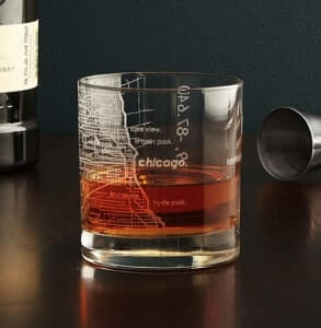 whiskey glass with city map etched into it
