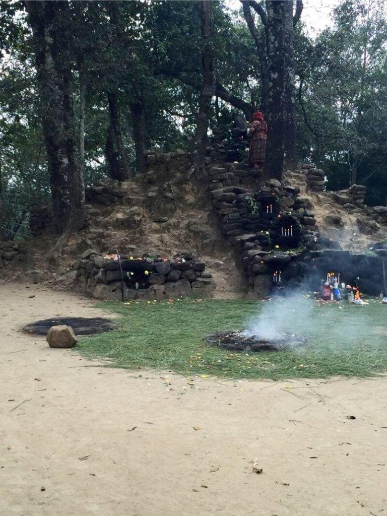 Maximon ritual at iximche ruins