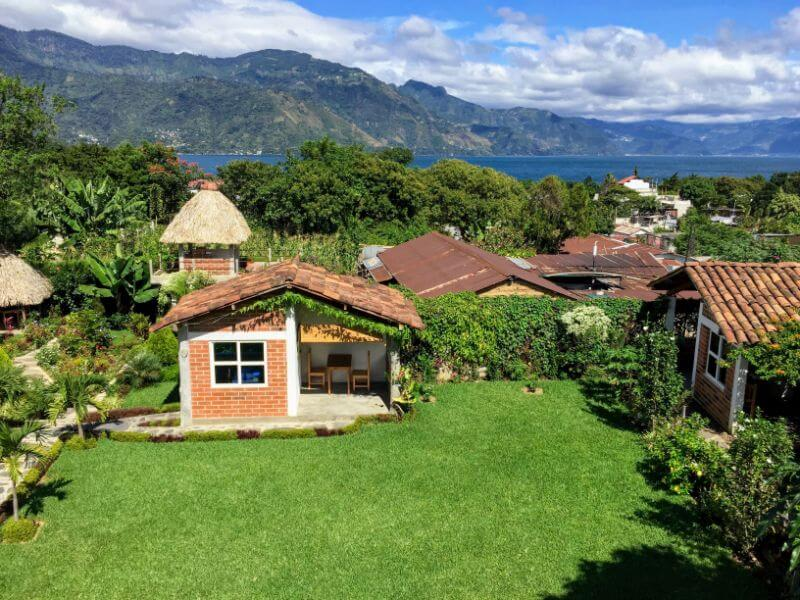 La Cooperativa Spanish school gardins in San Pedro, overlooking Lake Atitlan