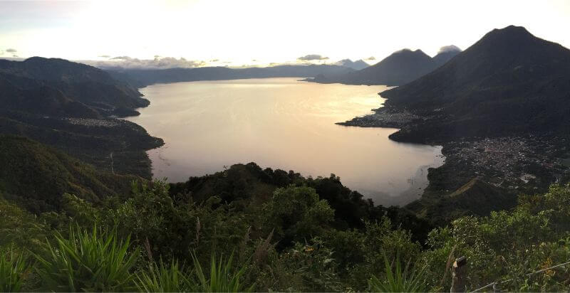Lookout point over Lake Atitlan from La Nariz del Indio (Indian Nose Hike) at sunrise
