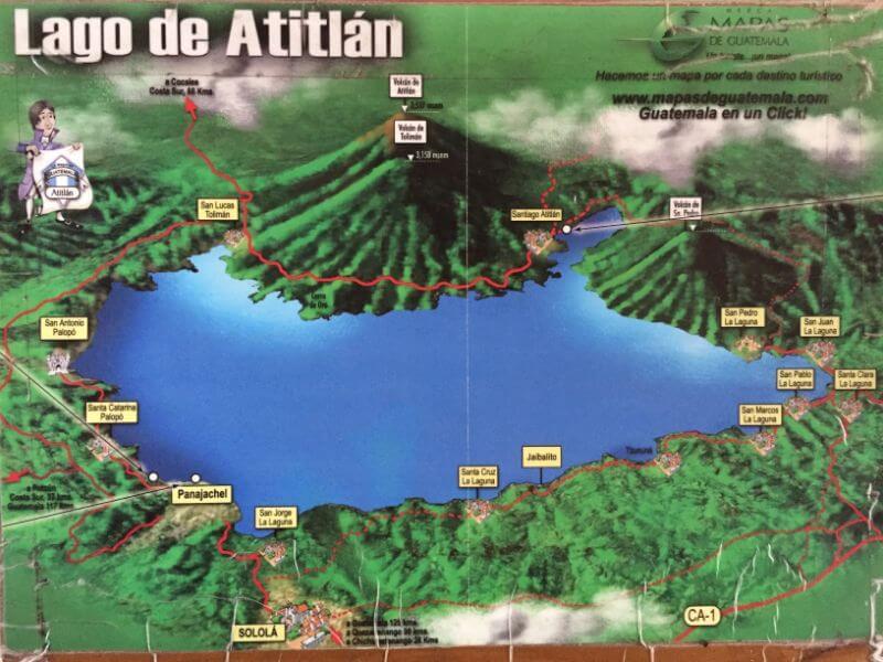 Map of villages surrounding Lake Atitlan