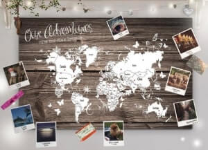 Personalized world map cork board