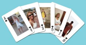 Personalized playing cards with photos of family
