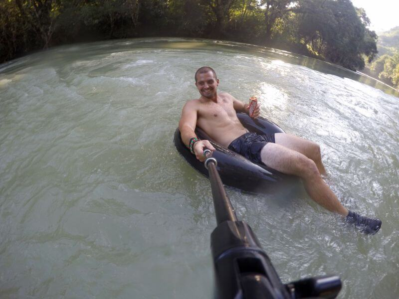 Tubing down river at Semuc Champey, Guatemala