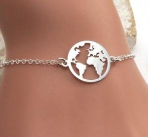 women's world map bracelet
