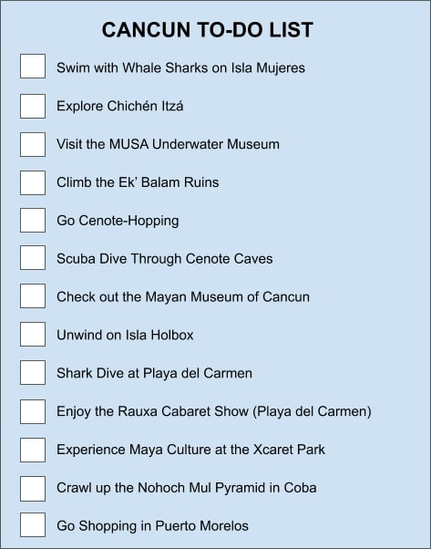 Cancun things to do checklist