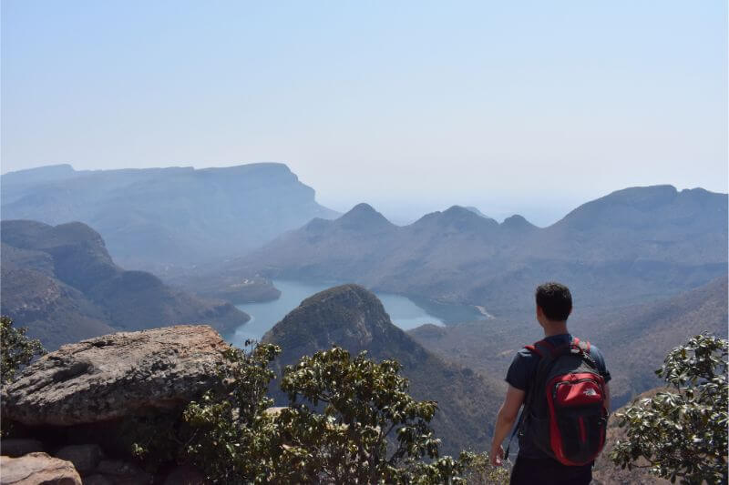 Nomadic Matt (Matt Kepnes) looking over a beautiful view in Africa