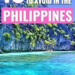 limestone cliffs in Philippines with text overlay 10 costly mistakes to avoid in the Philippines
