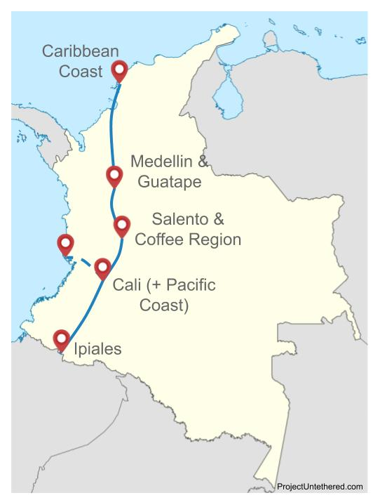 3 week Colombia itinerary map north to south (or vice versa)