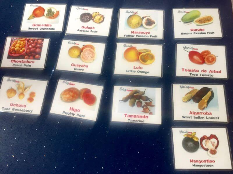 Fruit cards explaining the exotic fruits found in Colombia