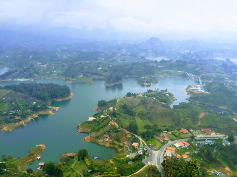 view of Guatape, Colombia from the top of Penol rock