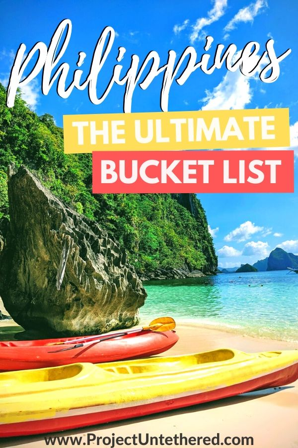 Philippines Bucket List Pinterest Image - Kayaks layingon beautiful beach in Coron