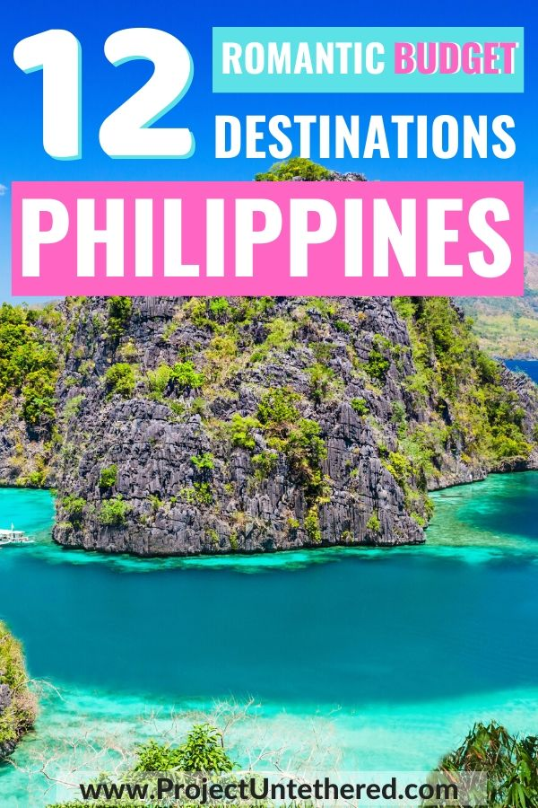 12 cheap places to visit in the Philippines for couples Pinterest image - Coron limestone cliffs background