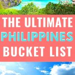 the ultimate philippines bucket list pinterest image - various photos of philippines in background