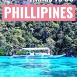 12 unforgettable things to do in philippines pinterest image - boat sailing over crystal blue waters