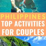 Top activities in Philippines for couples pinterest image - couple snorkeling in background