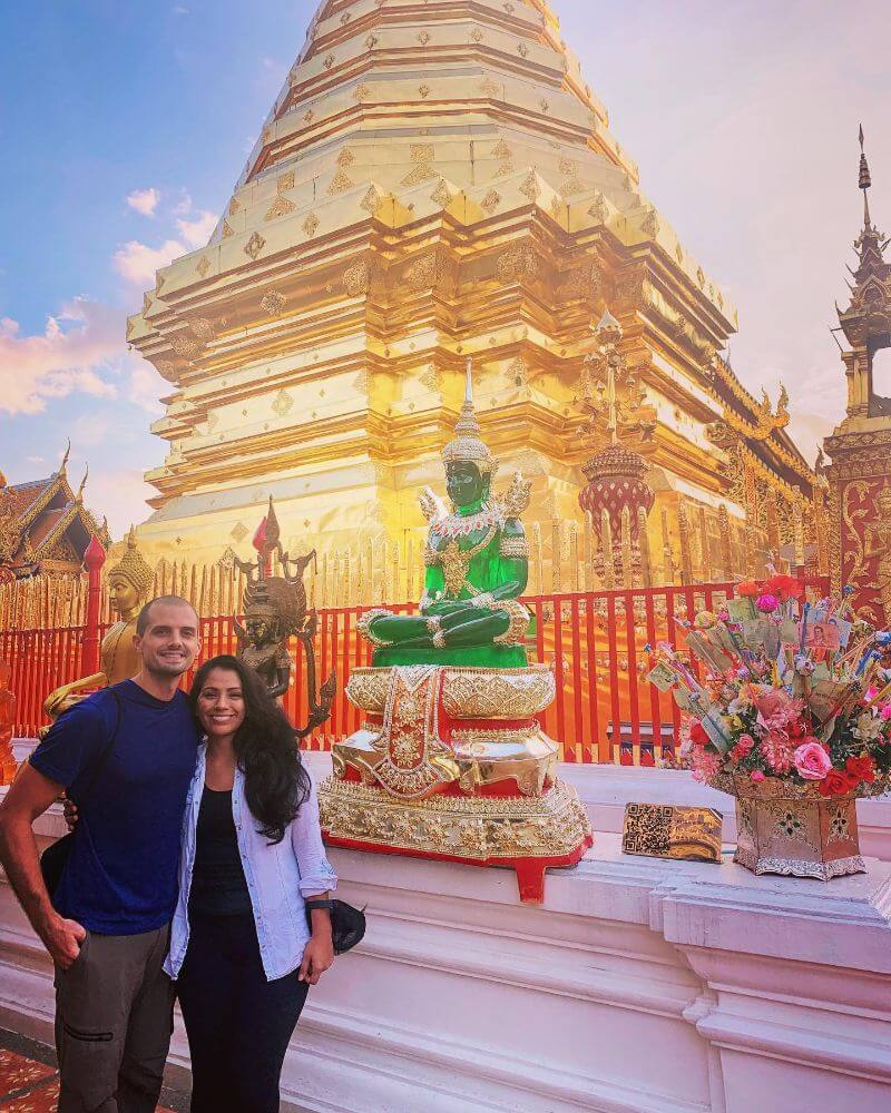 Gold temple and emerald statue at Wat Phra That Doi Suthep, Chiang Mai, Thailand