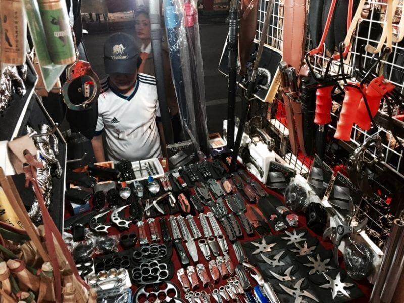 weapons stall at Chiang Mai night bazaar