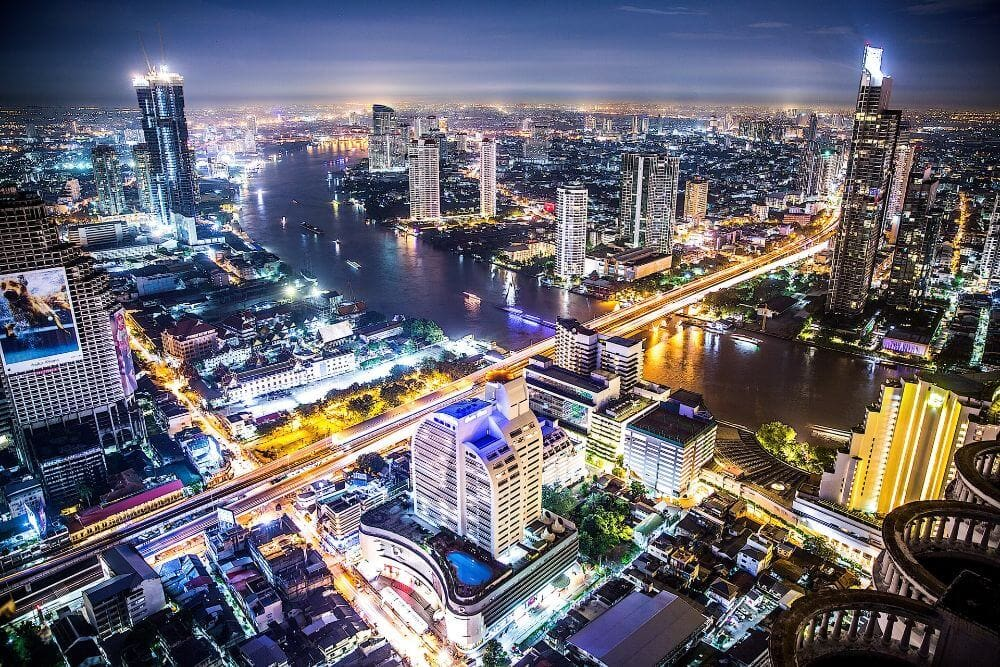 city viewat night when living in Bangkok