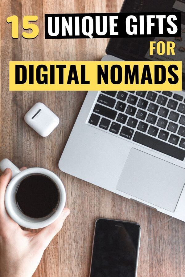 laptop and coffee on table with text overlay 15 unique gifts for digital nomads