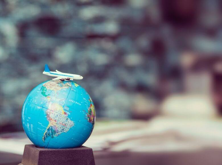 small globe and airplane figurine decoration