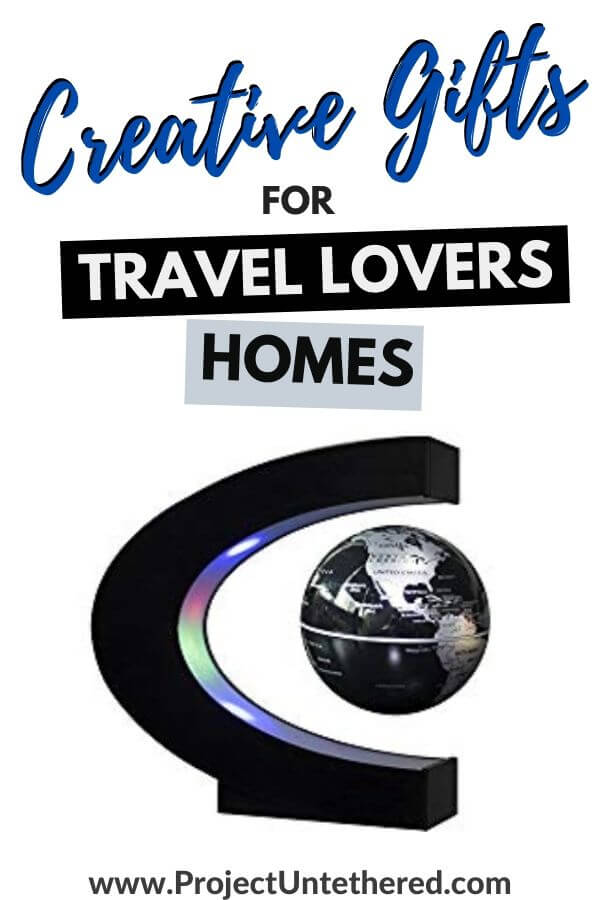 floating globe decoration with text overlay creative gifts for travel lovers homes