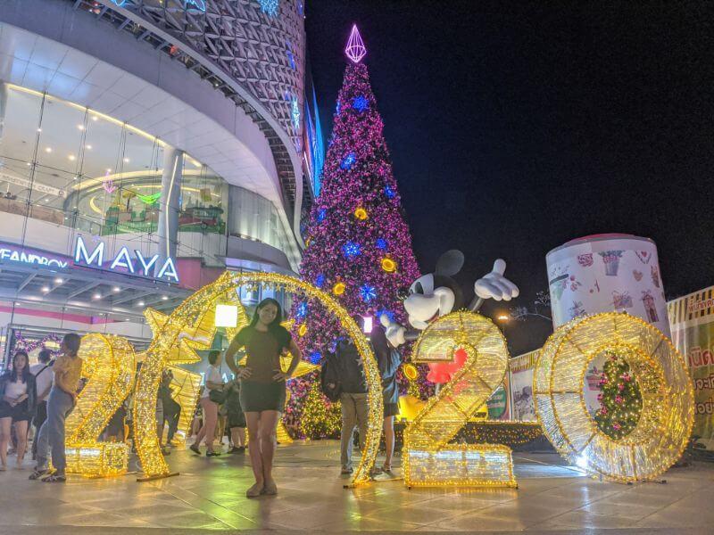 Christmas lights outside Maya Mall in Chiang Mai, Thailand