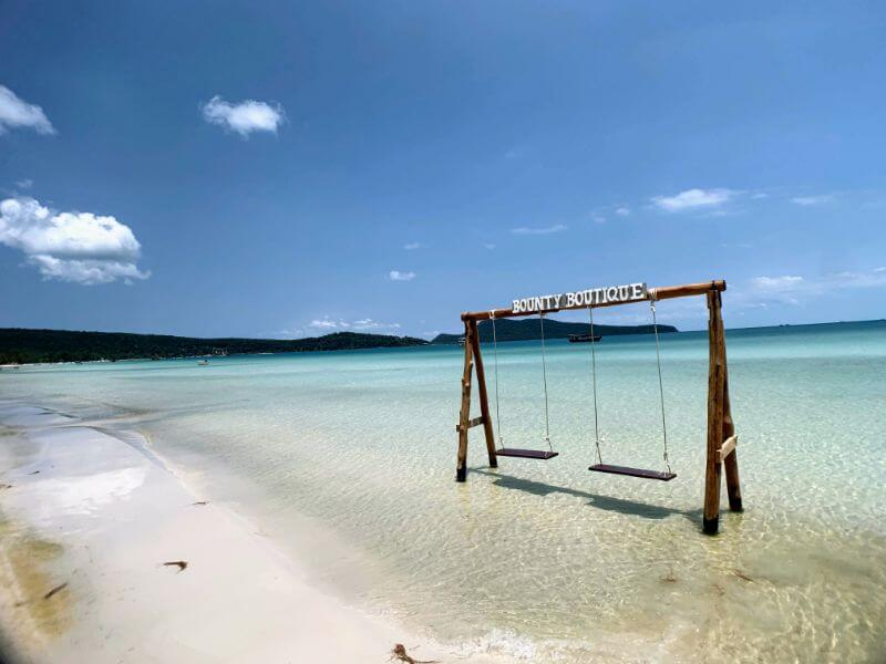 swings in the water on saracen beach on koh rong samloem island in Cambodia