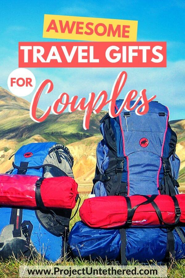 two backpacks with text overlay awesome travel gifts for couples