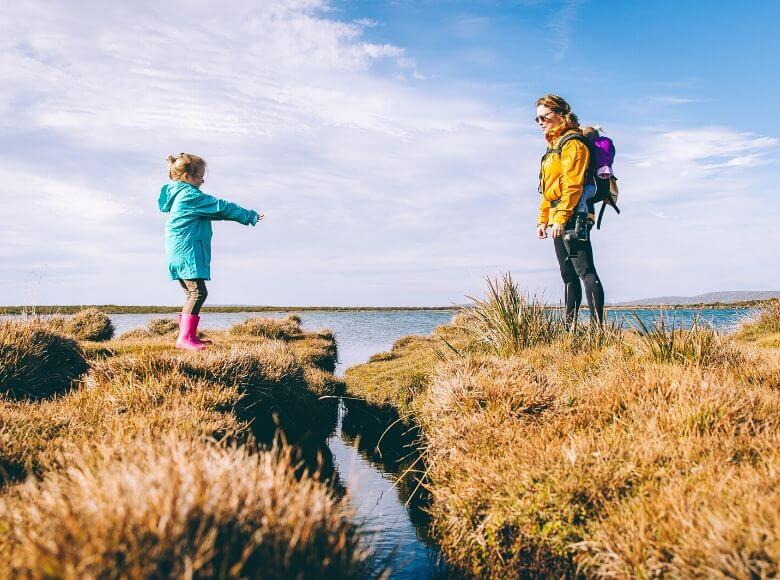travel gifts for kids feature image - mom and daughter out in nature