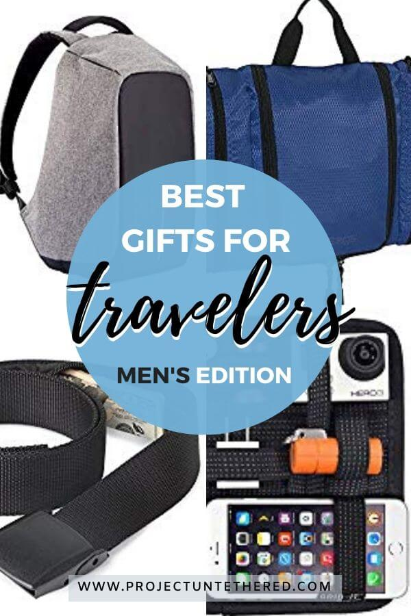 images of gifts with text overlay - best gifts for travelers men's edition