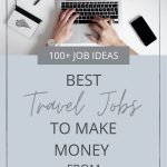 picture of someone working on the computer with text overlay 100+ job ideas best travel jobs to make money from anywhere